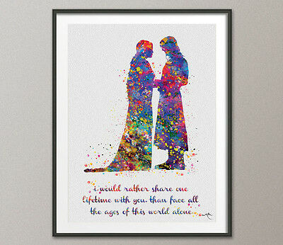 Aragorn and Arwen Quote Lord of the Rings Watercolor Print Evenstar Fan Art