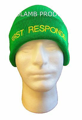 FIRST RESPONDER Beanie / Woolly Hat (LIGHT GREEN) AMBULANCE  St John MEDIC EMT