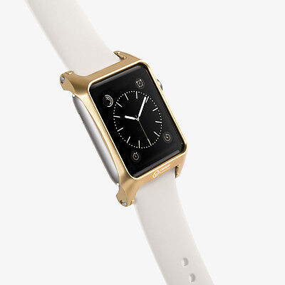 hairlined ultra hard shell aluminum gold for Apple Watch 42mm Woven Nylon Band