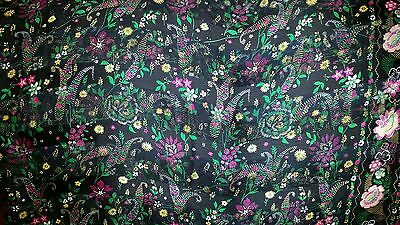 VTG Black Hot Pink Green Floral Soft Silk Georgette Casual Party Saree Sari