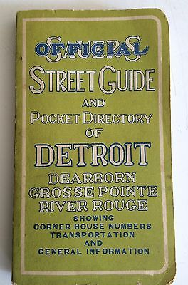 Sauers 1943 Vintage OFFICIAL POCKET DIRECTORY OF DETROIT STREET GUIDE & MAP 1943