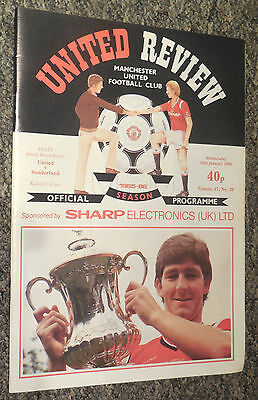 MANCHESTER UNITED v SUNDERLAND 1985/1986 FOOTBALL PROGRAMME - FA CUP REPLAY