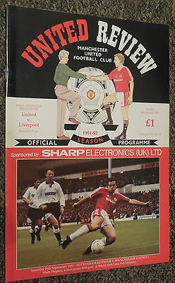 MANCHESTER UNITED v LIVERPOOL 1991/1992 FOOTBALL PROGRAMME - BARCLAYS LEAGUE ONE