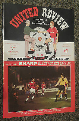 MANCHESTER UNITED v PORTSMOUTH 1991/1992 FOOTBALL PROGRAMME RUMBELOWS LEAGUE CUP