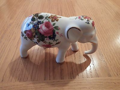 (Crown Fine Bone China) Elephant with Flower Pattern