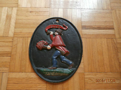 """Old Virginia Metalcrafters cast iron fire sign plaque 9"""" x 11"""" VM logo 22-6"""