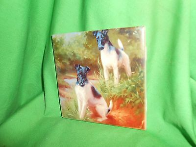 "Ceramic Art Tile 4 x 4""  Pair of SMOOTH FOX TERRIER  Dogs"