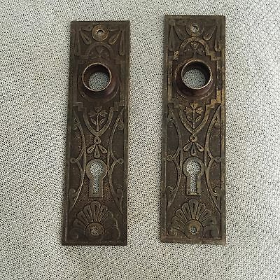 ANTIQUE Pair Of Victorian Eastlake CAST BroNze BACKPLATES Very Ornate
