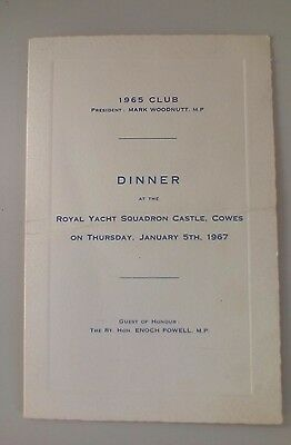 1967 dinner menu Royal Yacht Squadron Castle Cowes Isle of Wight Enoch Powell