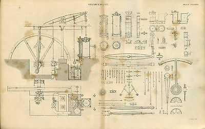Antique print STEAM ENGINE showing PARTS - copper plate engraving - 1842