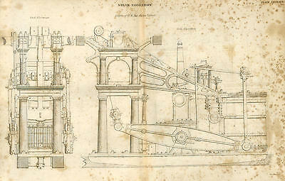 """Antique print STEAM ENGINE of MAIL PACKET """"URGENT"""" - ship engraving - 1842"""