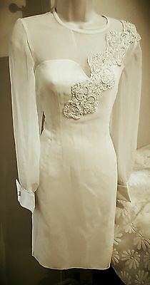 WEDDING DRESS Off White Ivory VINTAGE 1980s Pearl Rhinestone Sheath, Sz S