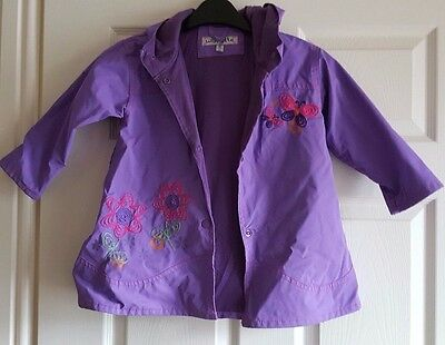 Wippette Gorgeous Vinyl Purple Girl's Rain Coat With Hood Excellent Cond 2 years