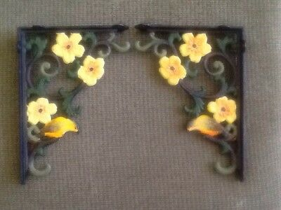 "Pair  Cast Iron Corner  Brackets  Birds & Flowers 10.25"" X 7.25"""