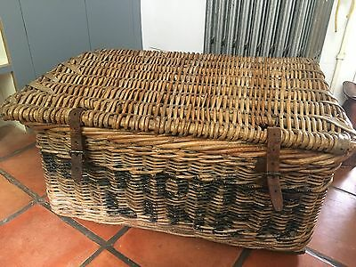 Large Old Commercial Wicker Linen Basket With Lift Up Lid And Leather Buckles.