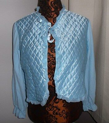 Ladies vintage nylon bed jacket blue quilted effect size WX - large