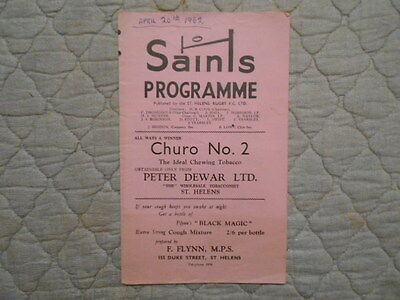 St Helens V Wigan Rugby League Match Programme 1962