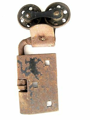 Antique Industrial Rolling Barn Door Cast Iron Hardware Twin Wheels and Hinge #4