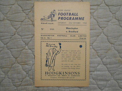 Warrington V Bradford Northern Rugby League Match Programme 1954