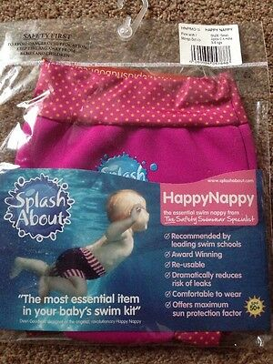 BNIP NEW SPLASH ABOUT HAPPY NAPPY - Small 0-4 Months - Pink - Baby Swim Nappy