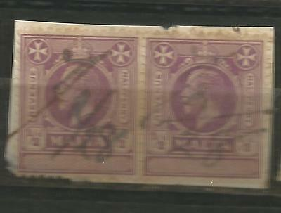 "MALTA (2) REVENUE ""UNAPPROPIATED""1/2d VIOLET KING GEORGE V   1926"