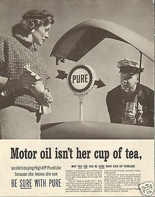 1957 PURE Oil Co Service Station HP Purelube LARGE Print Ad