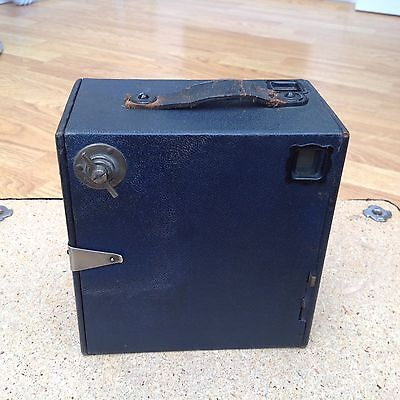 ANTIQUE ENSIGN BOX CAMERA. HANDLE TO TOP.  REAR OPENING, made in England