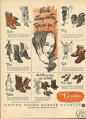 1946 United States Rubber Co US Gaytees Shoe & Boot LARGE Print Ad