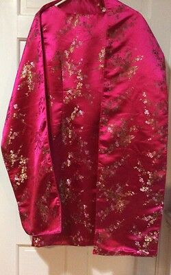 Oriental Chinese Dress Hot Pink Sz 2. With Matching Shawl