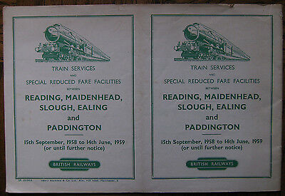 Train Services & Reduced Fares Paddington, Reading 1958/59