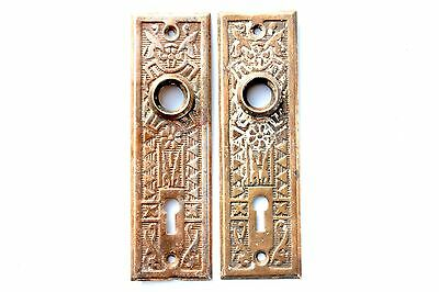 Art Nouveau Copper Plated Pair of Door Back Plates - Vintage Hardware (DP#1029)