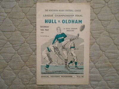 Hull V Oldham Rugby League Championship Final Match Programme 1957