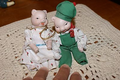 Vintage Pair PIG MOM AND DAD Bisque Dolls w Moveable Arms & Legs