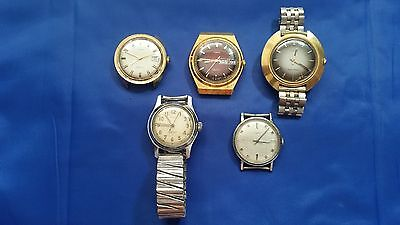 LOT OF 5 MEN'S TIMEX USED WRISTWATCHES for parts