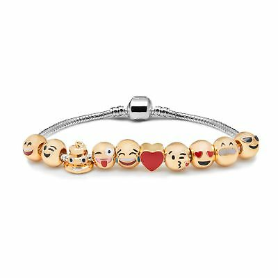 Emoji Charm Bracelet - 18K Yellow Gold Plated Beads - 10 Charms
