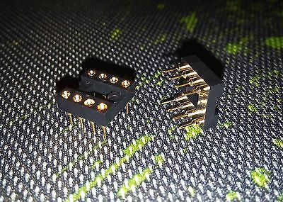 HQ IC Sockets DIP-8 - Swiss / Turned / Round Gold Pin Connectors