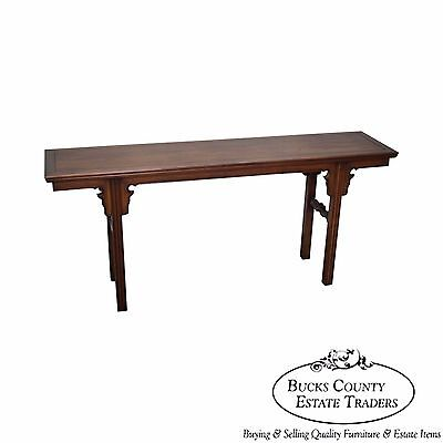 Vintage Asian Style Walnut Console Table by Fine Arts Furniture
