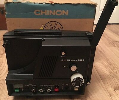 Vintage Chinon Sound 7500 - 8mm Movie Film Projector Working Boxed & Accessories
