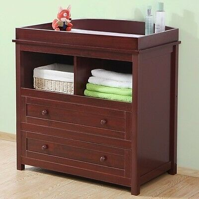 Nursery Baby Changing Unit Brown Wooden Changer Table Dressing Station Dresser