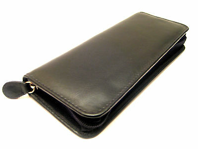 BLACK TRIPLE soft nappa leather zipped pen case/pouch with Elasticated Loops