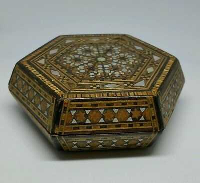 Old Middle Eastern Hexagon Shaped Box With Micro Mosiac Mother Of Pearl Decorati