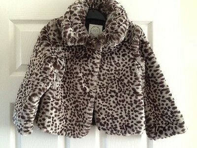 M&S girls leopard print faux fur coat - age 5/6 years