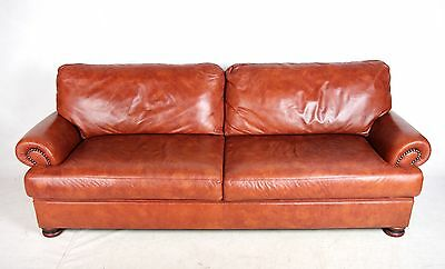 Sofa Tan Brown Leather Large 2 3 Seater Scroll Fine Quality Settee Antique Vinta