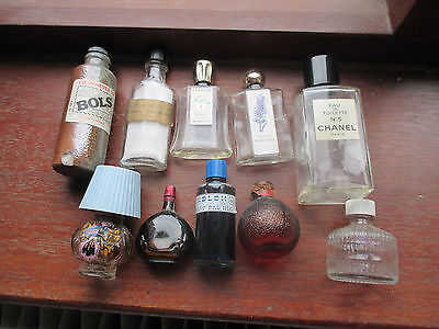 old perfume bottles ,and ink and liquer