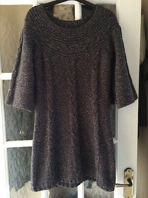 Ladies Size 10 Grey Knitted Jumper Dress