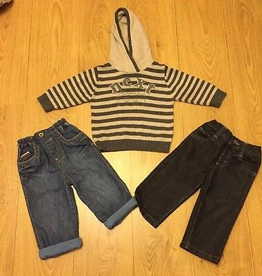 Baby Boys Bundle, 2 Pairs Of Jeans And Hooded Jumper All 12-18 Months