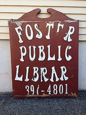 "Antique Foster Rhode Island Public Library Large Wooden Sign ( 27.5""x37.25"" )"
