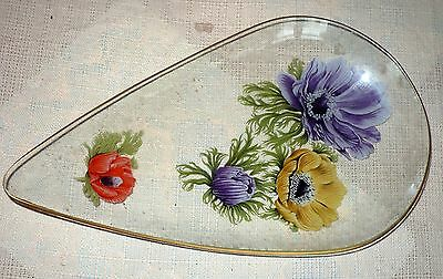 """VINTAGE 1950 ANEMONE GLASS PLATE,CHANCE 11 1/2"""" x 7"""""""