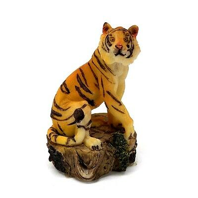 """Small Bengal Tiger Figurine 2.75"""" Tall Wild Cat Collectible Statue"""