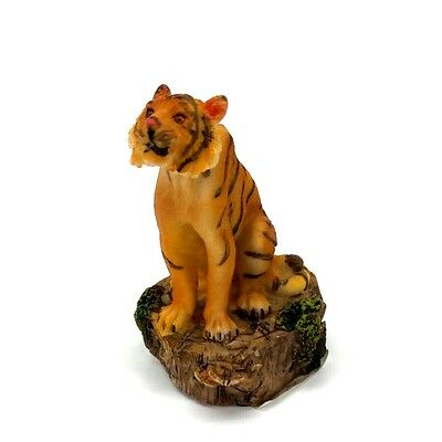 """Small Bengal Tiger Figurine 3"""" Tall Wild Cat Collectible Statue"""